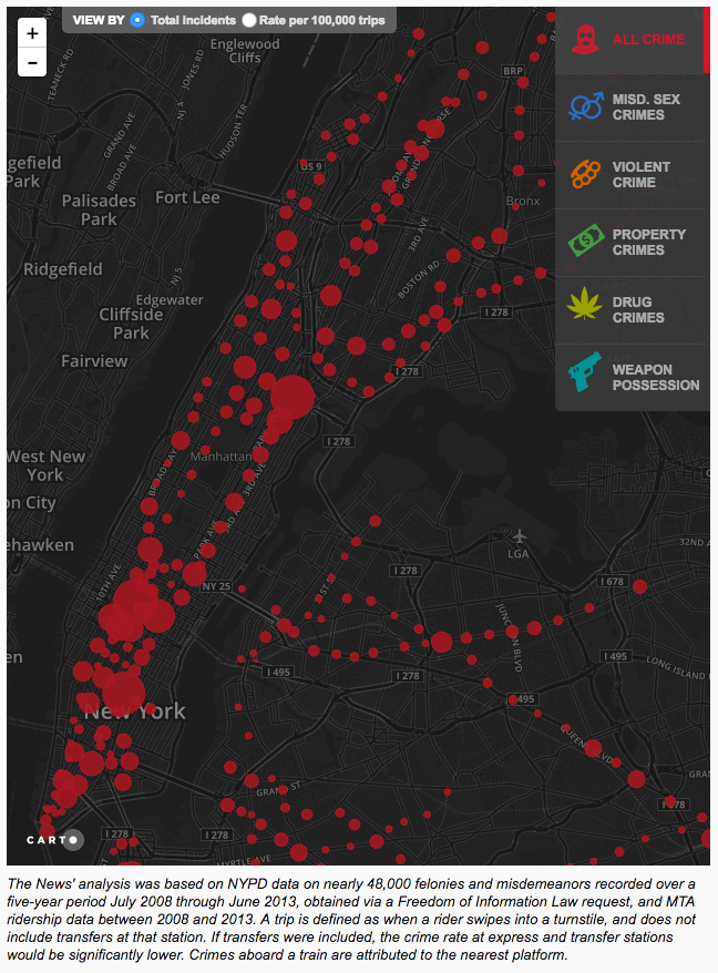 New York subway station crime map