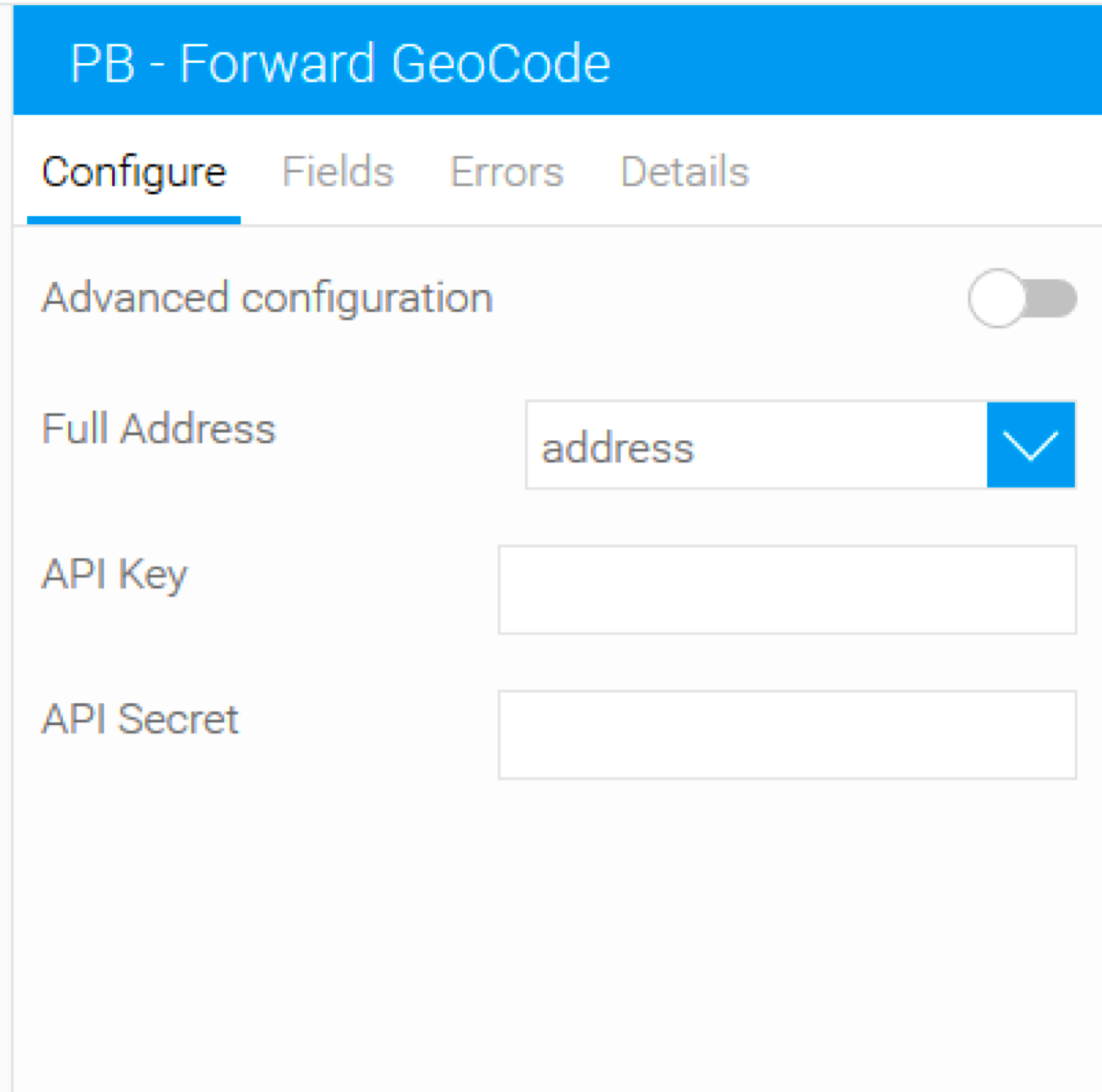 Pitney Bowes forward geocode in Yellowfin - single line address input