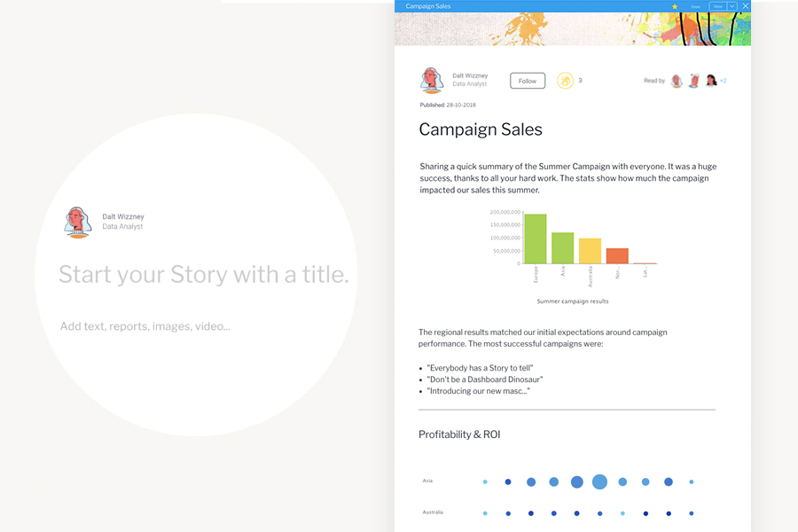 Start a story - share insights