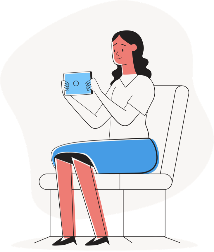Lady sitting with touch device