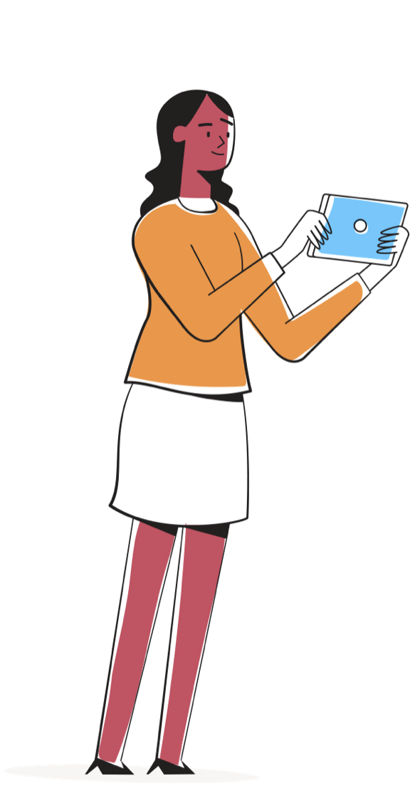 Lady using touch device