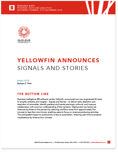 Nucleus Research Yellowfin Signals and Stories Cover